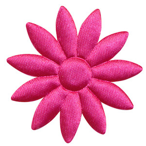 Applicatie bloem fuchsia met puntige blaadjes effen satijn groot 48 mm (ca. 100 stuks)
