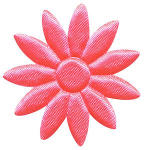 Applicatie bloem NEON roze met puntige blaadjes effen satijn groot 48 mm (ca. 100 stuks)