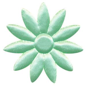 Applicatie bloem mintgroen met puntige blaadjes effen satijn groot 48 mm (ca. 100 stuks)