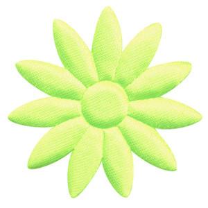 Applicatie bloem NEON geel met puntige blaadjes effen satijn groot 48 mm (ca. 100 stuks)