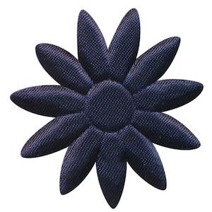 Applicatie bloem donker blauw met puntige blaadjes effen satijn groot 48 mm (ca. 100 stuks)
