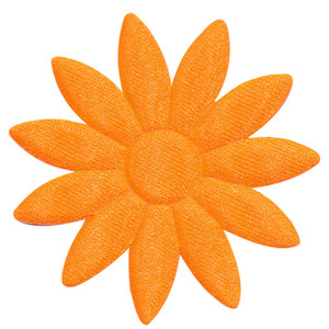 Applicatie bloem NEON oranje met puntige blaadjes effen satijn groot 48 mm (ca. 100 stuks)