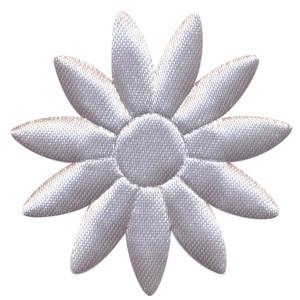 Applicatie bloem grijs met puntige blaadjes effen satijn groot 48 mm (ca. 100 stuks)