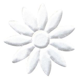 Applicatie bloem wit met puntige blaadjes effen satijn groot 48 mm (ca. 100 stuks)