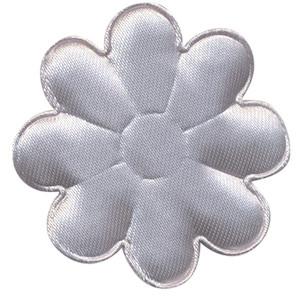 Applicatie bloem grijs satijn effen groot 50 mm (ca. 100 stuks)