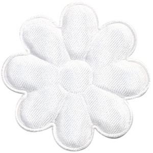 Applicatie bloem wit satijn effen groot 50 mm (ca. 100 stuks)