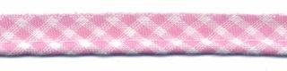 Roze-wit geruit piping-/paspelband STANDAARD - 2 mm koord (ca. 10 meter)