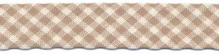Zand-wit geruit biaisband 13 mm (ca. 10 meter)