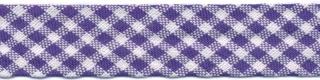 Kobalt blauw-wit geruit biaisband 13 mm (ca. 10 meter)