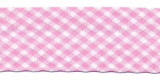 Roze-wit geruit biaisband 25 mm (ca. 10 meter)