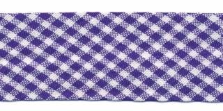 Kobalt blauw-wit geruit biaisband 25 mm (ca. 10 meter)