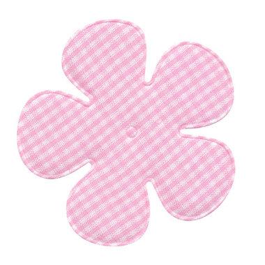 Applicatie geruite bloem roze-wit EXTRA GROOT 65 mm (ca. 100 stuks)