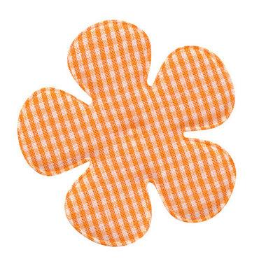 Applicatie geruite bloem oranje-wit EXTRA GROOT 65 mm (ca. 100 stuks)