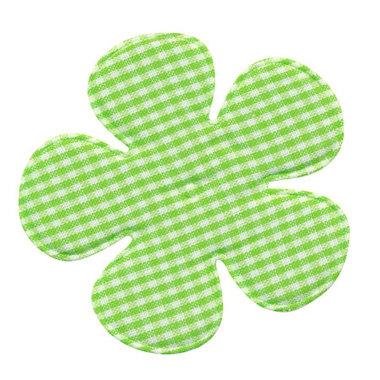 Applicatie geruite bloem groen-wit EXTRA GROOT 65 mm (ca. 100 stuks)
