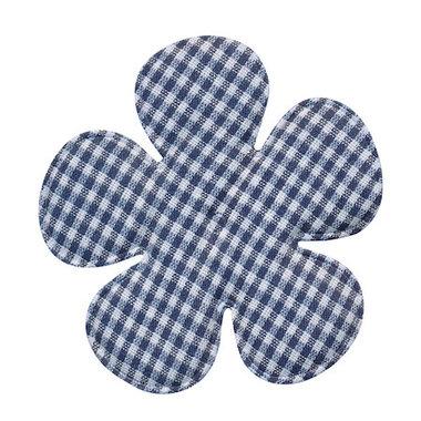 Applicatie geruite bloem donker blauw-wit EXTRA GROOT 65 mm (ca. 100 stuks)