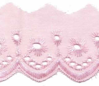 Broderie licht roze 50 mm (ca. 13,5 m)