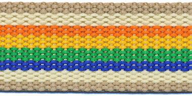 Tassenband 30 mm streep zand/creme/oranje/geel/groen/blauw (ca. 5 m)