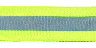 Fluoriserend geel/groene grosgrainband met reflectiestreep 25 mm (ca. 10 meter)