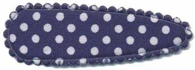 Haarknip met haarkniphoesje donker blauw met witte stip / polkadot 5 cm (ca. 100 stuks)