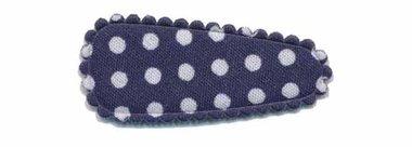 Haarknip met haarkniphoesje donker blauw met witte stip / polkadot 3 cm (10 stuks)