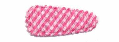 Haarknip met haarkniphoesje knal roze-wit geruit 3 cm (ca. 100 stuks)