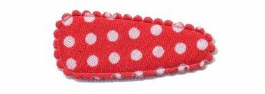 Haarknip met haarkniphoesje rood met witte stip / polkadot 3 cm (ca. 100 stuks)