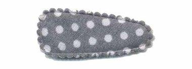 Haarknip met haarkniphoesje grijs met witte stip / polkadot 3 cm (ca. 100 stuks)