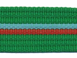 Tassenband 38 mm streep groen/aqua/rood EXTRA STEVIG (ca. 5 m)