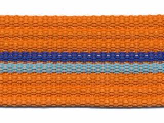 Tassenband 38 mm streep oranje/aqua/blauw EXTRA STEVIG (ca. 5 m)