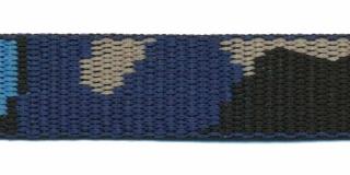 Tassenband 20 mm camouflageprint zwart/blauw/zand dubbelzijdig (ca. 5 m)