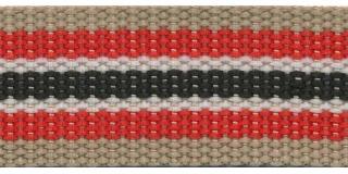 Tassenband 30 mm streep zand/rood/wit/zwart (ca. 5 m)