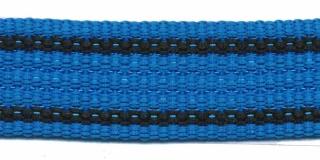 Tassenband 25 mm streep blauw/zwart EXTRA STEVIG (ca. 5 m)