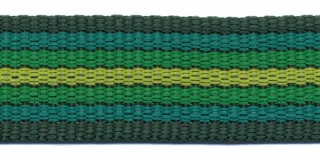Tassenband 25 mm streep donker groen/grasgroen/geel EXTRA STEVIG (ca. 5 m)