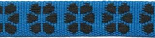 TUNNELband 15 mm bloem blauw/zwart (ca. 5 m)