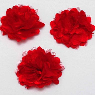 Bloem stof rood ca. 5 cm (5 stuks)