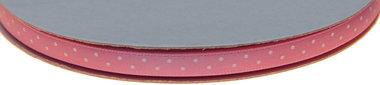 Licht roze dubbelzijdig satijnband met witte stippen 7 mm (ca. 30 m)