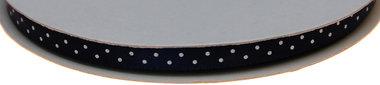 Donker blauw dubbelzijdig satijnband met witte stippen 7 mm (ca. 30 m)