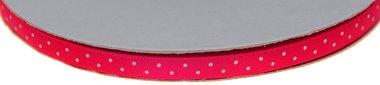 Fuchsia dubbelzijdig satijnband met witte stippen 7 mm (ca. 30 m)
