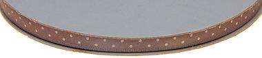 Grijs dubbelzijdig satijnband met witte stippen 7 mm (ca. 30 m)