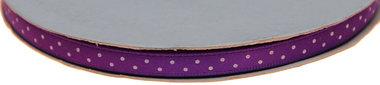 Paars dubbelzijdig satijnband met witte stippen 7 mm (ca. 30 m)