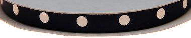 Donker blauw dubbelzijdig satijnband met grote witte stippen 10 mm (ca. 30 m)