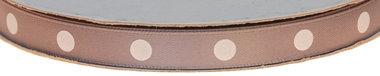 Grijs dubbelzijdig satijnband met grote witte stippen 10 mm (ca. 30 m)