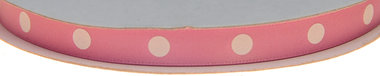 Licht roze dubbelzijdig satijnband met grote witte stippen 10 mm (ca. 30 m)