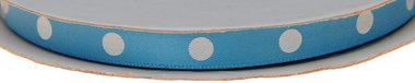 Licht blauw dubbelzijdig satijnband met grote witte stippen 10 mm (ca. 30 m)