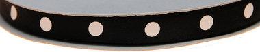 Zwart dubbelzijdig satijnband met grote witte stippen 10 mm (ca. 30 m)