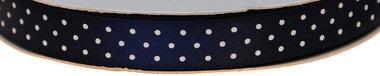 Donker blauw dubbelzijdig satijnband met witte stippen 13 mm (ca. 30 m)
