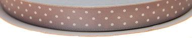 Grijs dubbelzijdig satijnband met witte stippen 13 mm (ca. 30 m)