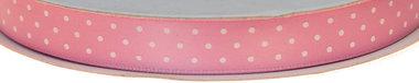 Licht roze dubbelzijdig satijnband met witte stippen 13 mm (ca. 30 m)