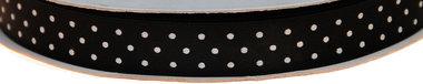 Zwart dubbelzijdig satijnband met witte stippen 13 mm (ca. 30 m)