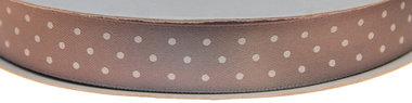 Grijs dubbelzijdig satijnband met witte stippen 15 mm (ca. 30 m)